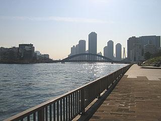 永代橋と佃島の高層マンション